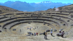 Peru Moray agricultural terraces with distant mountains s Stock Footage