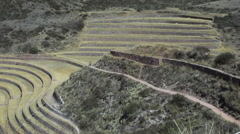 Peru Moray agricultural terraces with path s Stock Footage