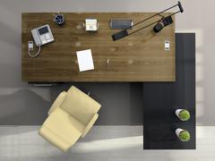 view from above of the modern office - stock illustration