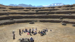 Peru Moray agricultural terraces with tourists s Stock Footage