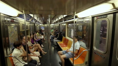 New Yorkers Riding MTA Subway Train Interior - Passengers Moving Crowded 4K Stock Footage