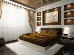 Interior of the comfortable bedroom in brown color Stock Illustration