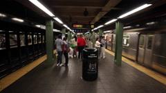 MTA Subway Train Enters Station Platform in New York City NYC USA 4K Stock Footage