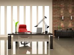 interior of the modern cabinet 3d rendering - stock illustration