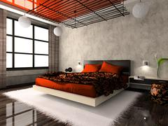 Luxurious interior of bedroom in red colour Stock Illustration