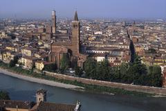 Church of santa anastasia adige river verona veneto italy Stock Photos