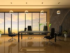 interior of the modern cabinet for negotiations 3d rendering - stock illustration
