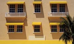 Stock Photo of front of an hotel building in art deco district of miami beach, florida, usa