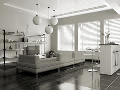Modern interior (sepia) with sofa Stock Illustration