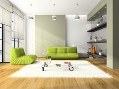 Modern interior with green sofas and white carpet 3d Stock Illustration