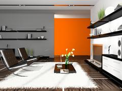 Interior of modern apartment 3d rendering Stock Illustration