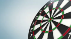 Dart arrow in bull's-eye - stock footage