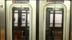 Subway Train in Motion - Doors from Interior Moving MTA 4K Stock Footage