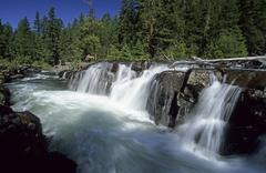 waterfall on the upper rogue river, cascade range, oregon, usa - stock photo