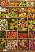 Little fruits made out of wood on the annual fair auerdult in munich germany Stock Photos