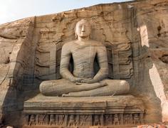 gal vihara, buddha statue - stock photo
