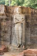 gal vihara, standing buddha statue - stock photo