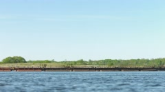 Dredger on a large river. russia, volga river Stock Footage