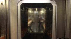 Subway Car Train in Motion - Doors from Interior Moving MTA 4K Stock Footage