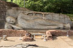 gal vihara, reclining buddha statue - stock photo