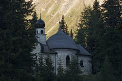 chapel at obernberg lake in stubaier alpen tyrol austria - stock photo