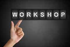 Hand pushing workshop on flip board Stock Illustration