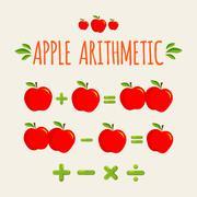 Red apple arithmetic Stock Illustration
