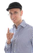 Isolated french man with cap giving advice. Stock Photos
