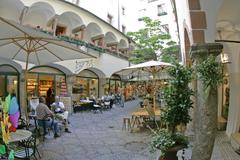 courtyard built 1408 by the mayor peter feiertag town of salzburg austria - stock photo