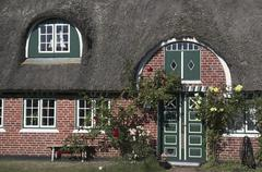 Entrance of a typical old house in soendo at fanoe island, denmark Stock Photos