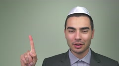 4K Jewish Man Explaning a Concept Pointing Finger Stock Footage