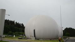 Biogas plant water treatment facility sludge renewable energy Stock Footage