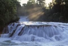 agua azul waterfall near palenque chiapas mexico - stock photo