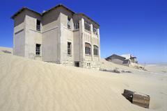 building in ghosttown kolmanskoop namibia - stock photo