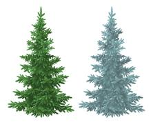 Christmas green and blue spruce fir trees Stock Illustration