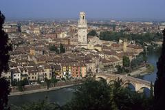 Ponte pietra cathedral adige river verona veneto italy Stock Photos