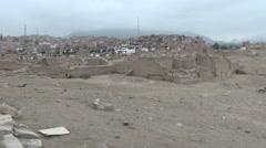 Peru Pachacamac barrio and ruins near Lima s - stock footage