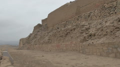 Peru Pachacamac pyramid ruins layered wall 2 Stock Footage