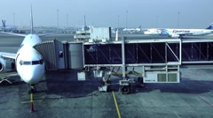 Cairo airport, Egypt Air Airplane at the gate Stock Footage