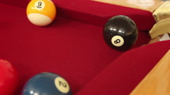 Cue Ball Strikes Eight Ball to Sink in Corner CU Stock Footage