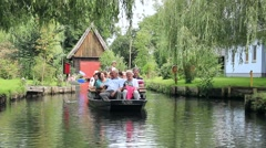Boat tour at the channel in Lehde. Spreewald area, The German Venice Stock Footage