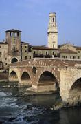 Ponte pietra on the adige river cathedral verona veneto italy Stock Photos