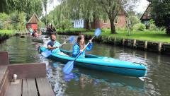 People kayaking in nature. Lehde village near Spreewald The German Venice. Stock Footage