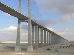 Al Salam bridge in Egypt, shot from a ship that is sailing through Suez canal - stock footage