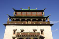 Main Tempel Magjid Janraisig Sum Gandan Monastery Ulaan Baatar Mongolia - stock photo