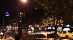 Empire State Building in Manhattan New York City - Traffic at Night NYC 4K Stock Footage