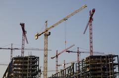 Erection cranes station lehrter bahnhof berlin germany Stock Photos