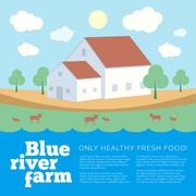 Blue River Farm Flat Style Vector Background - stock illustration