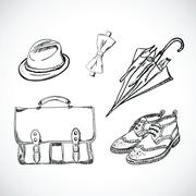 Gentleman Sketch Handdrawn Vector Set - stock illustration