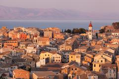 Stock Photo of the city of corfu during the sunset on a sunny day
